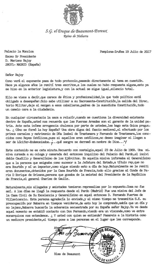 Carta a Mariano Rajoy, Presidente Gobierno de España